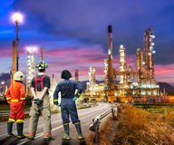 Engineer survey of oil refiner Stock Image