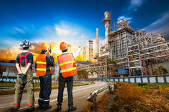 Engineer survey of oil refiner Royalty Free Stock Photo