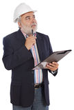 Engineer taking notes. A over white background Stock Photos