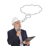 Engineer taking notes. A over white background Royalty Free Stock Images