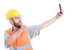 Engineer taking a selfie showing like Royalty Free Stock Image
