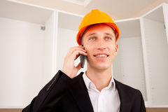 Engineer talking on the phone Royalty Free Stock Image