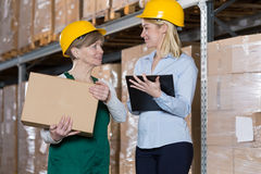 Engineer talking with storage worker Royalty Free Stock Photography
