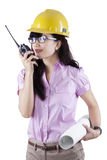 Engineer talking on the walkie-talkie Stock Photo