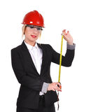 Engineer with tape measure Royalty Free Stock Image