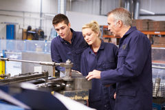 Engineer Teaching Apprentices To Use Tube Bending Machine. In Factory Stock Image