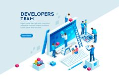 Engineer Team development Project Template. Engineer team at project development, template for developer. Coding develop, programmer at computer or workstation royalty free illustration
