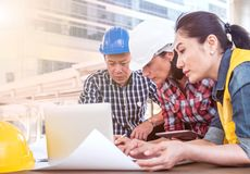 Engineer and teamwork meeting. Engineer and teamwork, meeting for successful project building construction royalty free stock images