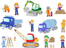 Engineer, technician, painter, welder and labor worker working o. N a construction. Cartoon bulldozer, concrete mixer, truck, excavator and tractor set. Vector Royalty Free Stock Images