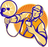 Engineer Technician With Ultrasound Sonar Dish. Illustration of an engineer technician pointing with ultrasound sonar satellite dish viewed from the side set Stock Photos