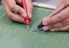 Engineer test electronic equipment Stock Photo