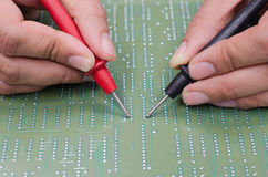 Engineer test electronic equipment Stock Photos