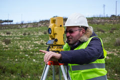 Engineer with theodolite Stock Photo