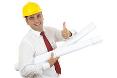 Engineer with thumb up. Engineer smiling and showing his thumb up on white background Stock Images