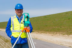 Engineer and Total station or theodolite Stock Photography