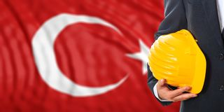 Engineer on a Turkey flag background. 3d illustration. Engineer on a waiving Turkey flag background. 3d illustration Stock Photo
