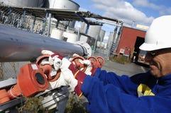 Engineer turning pipeline stock photos