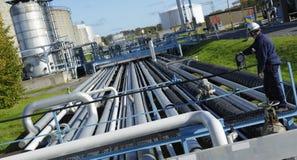 Engineer turning pipelines Stock Photos