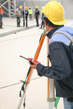 Engineer used survey camera Stock Image