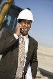 Engineer Using Cellphone Royalty Free Stock Photography