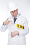 Engineer using a level Stock Photos