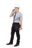 Engineer using walkie talkie. Stock Images