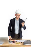 Engineer using walkie talkie. isolated on white. Royalty Free Stock Photos
