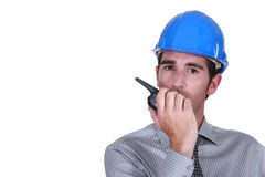Engineer using a walkie-talkie Royalty Free Stock Photography