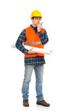 Engineer with walkie-talkie. Stock Photos