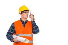 Engineer with walkie-talkie. Royalty Free Stock Image