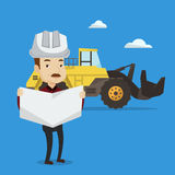 Engineer watching a blueprint vector illustration. Royalty Free Stock Photography