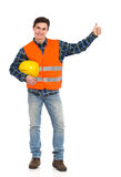 Engineer wearing reflective clothing and showing thumb up. Royalty Free Stock Photo
