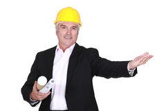 Engineer welcoming a client Stock Images