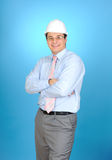 An engineer with white hard hat Stock Photos