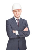 Engineer with white hard hat Royalty Free Stock Images