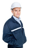 Engineer with white hard hat Stock Photos