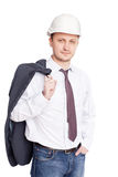 Engineer with white hard hat standing confidently Royalty Free Stock Photos