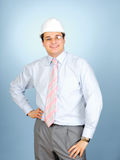 An engineer with white hardhat Stock Photo