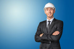 Engineer in white hardhat Stock Photography