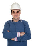 Engineer with white helmet Royalty Free Stock Photography