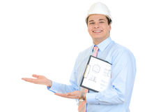 Engineer with white helmet royalty free stock photos