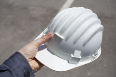 Engineer with white helmet Stock Image