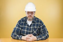 Engineer. An engineer with a white helmet and a visor Stock Photo