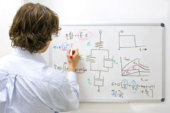 Engineer at whiteboard. An engineer drawing a complexe physics equation on a whiteboard Royalty Free Stock Images