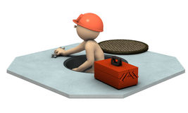 Engineer who came out from sewage manholes. 3D illustration Stock Photos