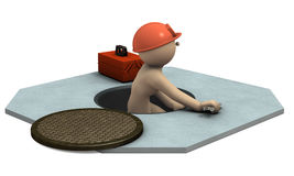 Engineer who came out from sewage manholes. 3D illustration Stock Photo