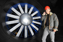 Engineer in a wind tunnel Royalty Free Stock Photo