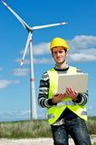 Engineer in Wind Turbine Power Generator Station. Technician Engineer in Wind Turbine Power Generator talk at phone Station, Italy Stock Image