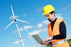 Engineer in Wind Turbine Power Generator Station Stock Photos