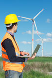Engineer in Wind Turbine Power Generator Station. Technician Engineer in Wind Turbine Power Generator Station,italy Stock Image
